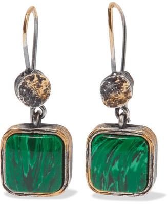 Bottega Veneta - Oxidized Silver Malachite Earrings $510 thestylecure.com