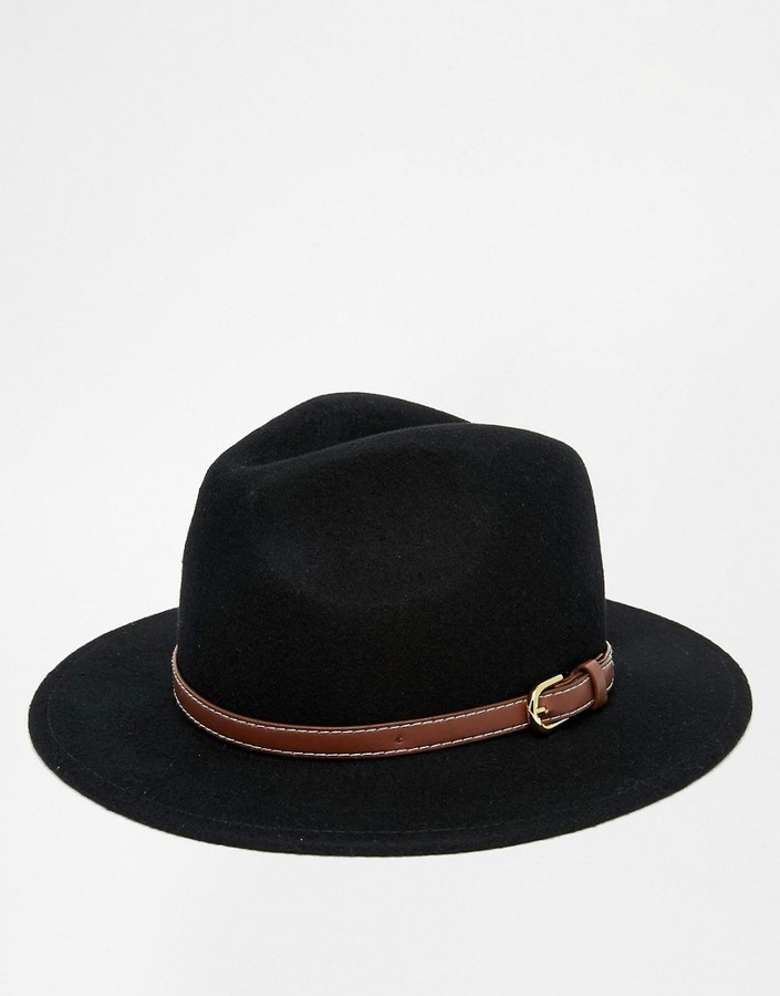 ASOS Fedora Hat In Black With Faux Leather Trim - Black