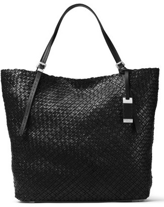 Michael Kors Large Hutton Woven Leather Tote - Black $1,190 thestylecure.com