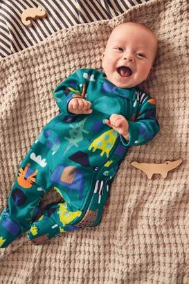 Next Boys Green Multi Animal Fleece Sleepsuit (0mths-3yrs) - Green