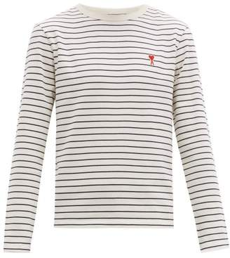 Ami Logo Patch Striped Cotton Long Sleeved T Shirt - Mens - White Multi
