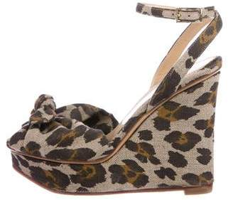 Charlotte Olympia Leopard Print Woven Wedges