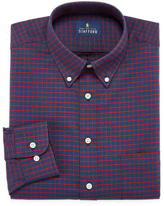 STAFFORD Stafford Travel Wrinkle Free Stretch Oxford Long Sleeve Plaid Dress Shirt