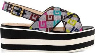 Gucci Velvet G lurex crossover platform sandal
