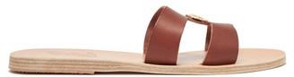 Ancient Greek Sandals Desmos Coin Embellished Leather Slides - Womens - Dark Brown