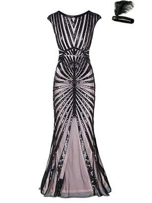 General Formal Evening Dress 1920s Sequin Mermaid Maxi Long Flapper Gown Party (, L)