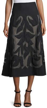 Nic+Zoe Special Edition Secret Garden A-line Midi Skirt, Black, Plus Size