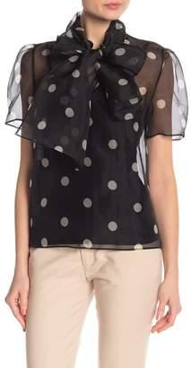 Anne Klein Silk Dot Patterned Tie Neck Blouse