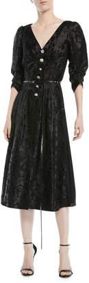 Marc Jacobs V-Neck Jewel-Button Floral-Brocade Dress
