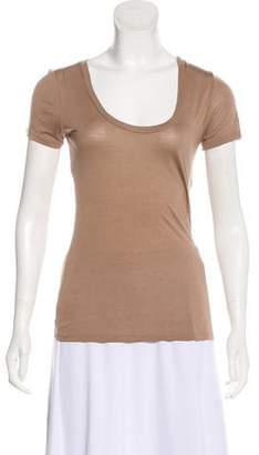 L'Agence Scoop Neck Short Sleeve Top