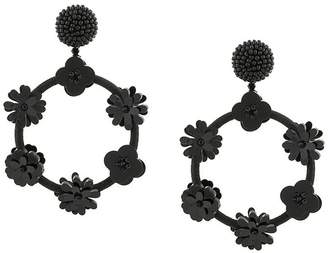 Oscar de la Renta flower hoop earrings