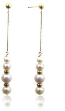 14K Yellow Gold Drop Earrings with Pearls