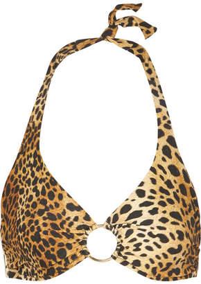 Melissa Odabash Brussels Embellished Halterneck Leopard-print Bikini Top