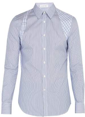 Alexander McQueen Brad Pitt Harness Striped Cotton Poplin Shirt - Mens - Light Blue