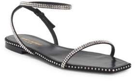 Saint Laurent Nu Pied Raso Crystal Ankle-Strap Sandals