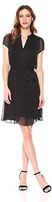 MSK Women's Polka Dot Short Sleeve Woven Pintuck Shirt Dress