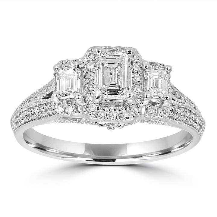 MODERN BRIDE Love Lives Forever Womens 1 1/4 CT. T.W. Multi-Shape White Diamond 14K Gold 3-Stone Ring