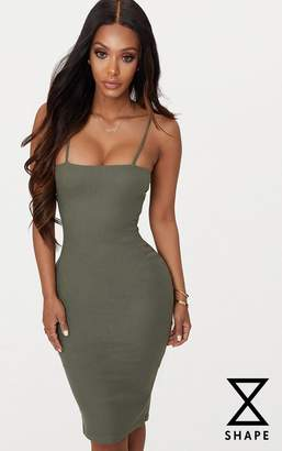 PrettyLittleThing Shape Khaki Ribbed Square Neck Midi Dress