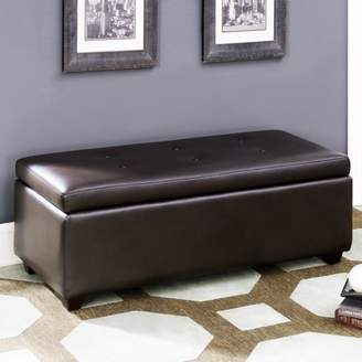 AC Pacific Brown Leather-Infused Fabric Contemporary Button Tufted Storage Ottoman