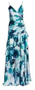 Theia Ruffled Watercolor Hibiscus-Print Gown