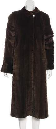 Fur Horizontal Stripped Mink Duster Coat
