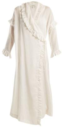 Isa Arfen Ruffle Trimmed Ramie Wrap Dress - Womens - White