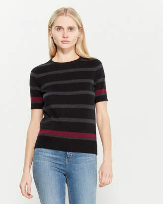 Ply Cashmere Cashmere Striped Elbow Sleeve Sweater