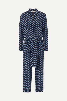 60c64f4c68 Diane von Furstenberg Leone Belted Printed Silk Crepe De Chine Jumpsuit -  Blue