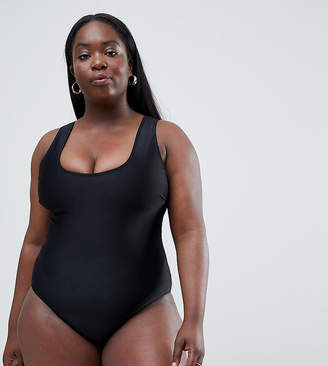 Wolfwhistle Wolf & Whistle Curve Scoop Neck Swimsuit In Black