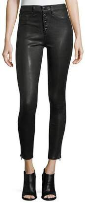 Rag & Bone Ame Mid-Rise Button-Fly Skinny Leather Pants