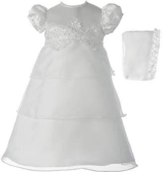 lauren-madison Christening Baptism Newborn Baby Girl Special Occasion Organza Multi-Tiered Dress