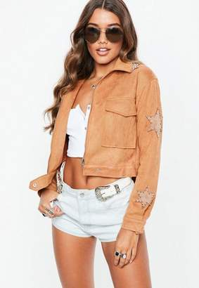 Missguided Tan Faux Suede Star Applique Trucker Jacket