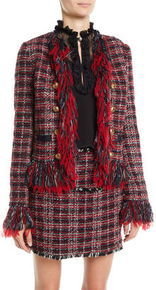 Pinko Open-Front Tweed Fringe Blazer and Matching Items