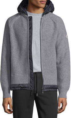 Moncler Knitted Wool Cardigan w/ Hood