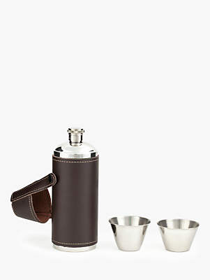 Kikkerland Leather Flask, 250ml