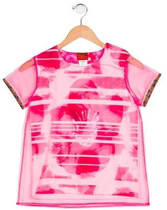 Kenzo Girls' Printed Short Sleeve Top w/ Tags