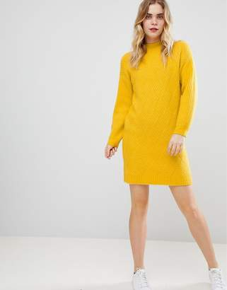 Asos DESIGN Chunky Dress With Moving Rib In Fluffy Yarn
