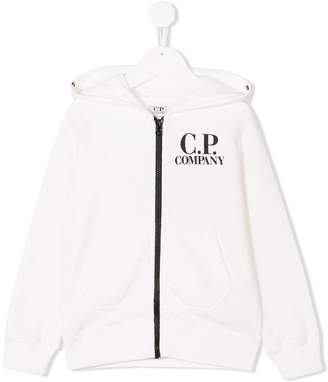 C.P. Company Kids zip logo hoodie