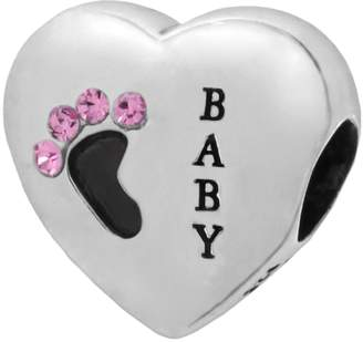"""Individuality Beads Sterling Silver Crystal """"Baby"""" Footprint Heart Bead"""