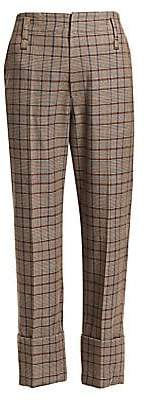 Brunello Cucinelli Women's Cuffed Virgin Wool & Cotton Plaid Trousers