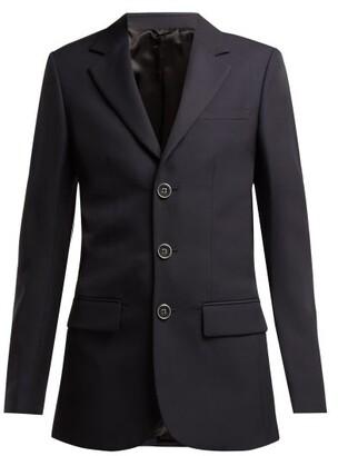 Raf Simons Three Button Wool Blazer - Womens - Dark Navy