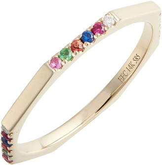 Ef Collection Half Rainbow Diamond Octagon Ring