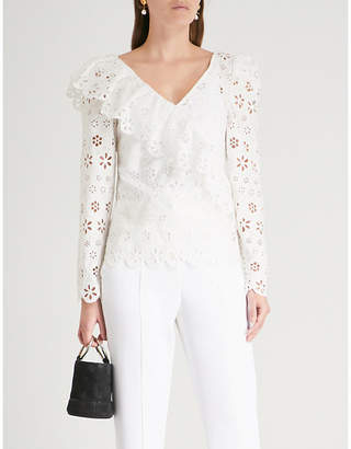 Self-Portrait Floral broderie anglaise embroidered top