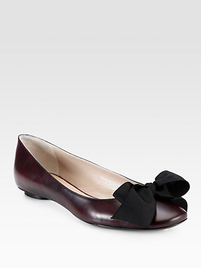Marc Jacobs Leather Bow Ballet Flats