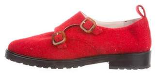 Leandra Medine Felt Buckle-Accented Loafers Red Leandra Medine Felt Buckle-Accented Loafers
