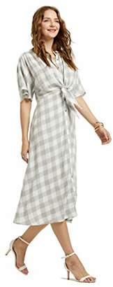 SONJA BETRO Women's Gingham Tie Front Button Down Dolman Midi Shirt Dress