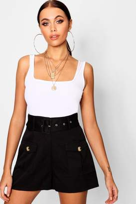boohoo Belted Utility Pocket Button Cargo Shorts