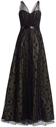 Rene Ruiz Collection Illusion Metallic Tulle Gown