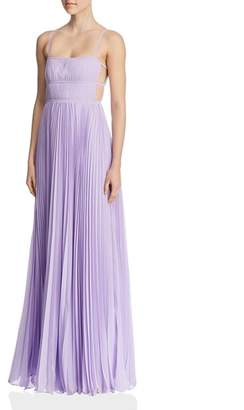 Fame & Partners Erina Pleated Cutout Gown