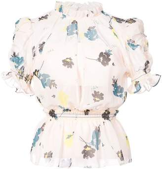 Self-Portrait floral ruffle peplum top